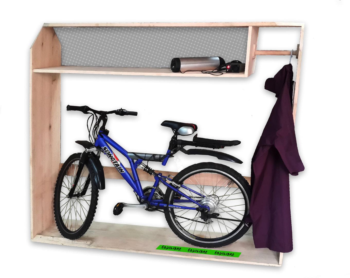 meuble de rangement aur re ebike pour v lo lectrique. Black Bedroom Furniture Sets. Home Design Ideas