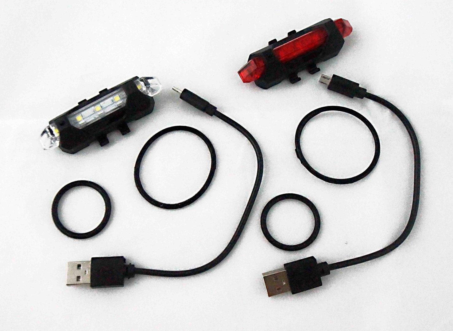 eclairage de v lo rouge avant arri re rechargeable usb 15. Black Bedroom Furniture Sets. Home Design Ideas